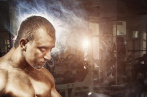 Man concentrating on working out
